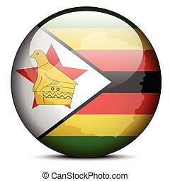 Republic of Zimbabwe - Vector Image - Map on flag button of ...