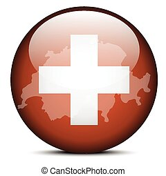 Map on flag button of Switzerland, Swiss Confederation -...