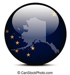 Map on flag button of USA Alaska State