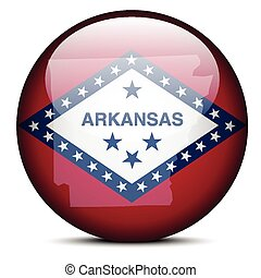 Map on flag button of USA Arkansas State
