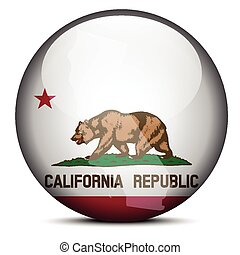 Map on flag button of USA California State