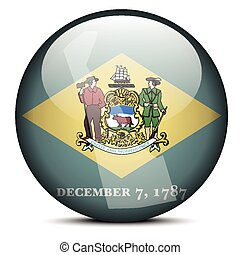 Map on flag button of USA Delaware State