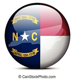 Map on flag button of USA North Carolina State