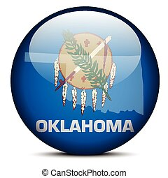 Map on flag button of USA Oklahoma State
