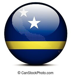 Map with Dot Pattern on flag button of Curacao