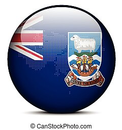 Vector Image - Map with Dot Pattern on flag button of Falkland Islands (Islas Malvinas)