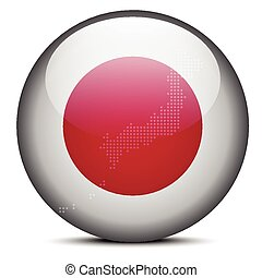 Map with Dot Pattern on flag button of State of Japan