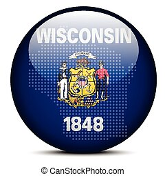 Map with Dot Pattern on flag button of USA Wisconsin State