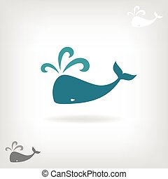 Vector image of a big whale. Whale logo.