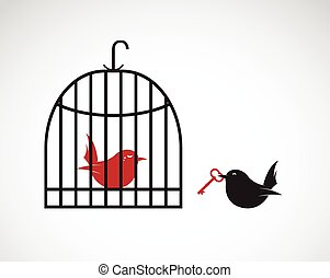 Vector image of a bird in the cage and outside the cage and key. Freedom concept, Help concept