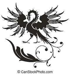 Bird in the form of a heraldic