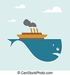 Vector image of a boat on whale