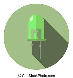 Vector image of a bright green LED