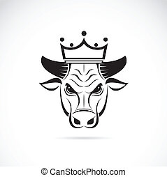 Vector image of a bull head wearing a crown on white ...