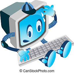 vector image of a computer with face hands and legs