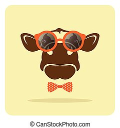 Vector image of a cow wearing glasses.