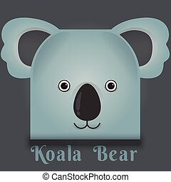 Vector image of a cute koala bear square style
