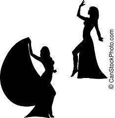 Eastern dance - Vector image of a dancing girl. Eastern...