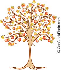 Vector image of a decorative apple tree