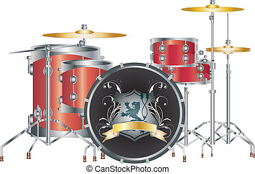 Set of a full red drum set on white with lion logo.