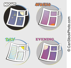Vector image of a four time of day