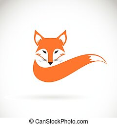 Vector image of a fox design on a white background, Wild Animals