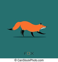 Vector image of a fox design on blue background
