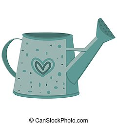 vector image of a garden watering can in gray green color