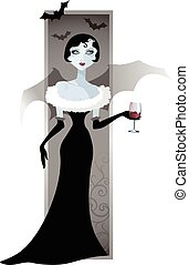 Vector image of a girl vampire with a glass