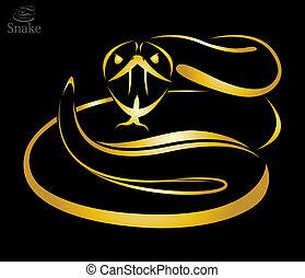 Vector image of a golden snake on black background