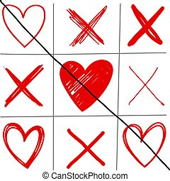 Vector image of a hand-drawn tic-tac-toe game with hearts and crosses