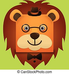 Vector image of a hipster lion face square style wearing glasses and hat