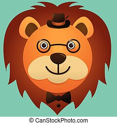 Vector image of a hipster lion face wearing glasses and hat