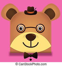 Vector image of a hipster teddy bear square style wearing glasses and hat