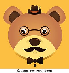 Vector image of a hipster teddy bear wearing glasses and hat
