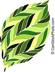 vector image of a leaf in shades of green on a white background.