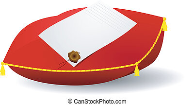 Vector image of a letter on the pillow