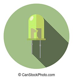 Vector image of a light green led