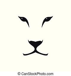 Vector image of a lioness head on white background.