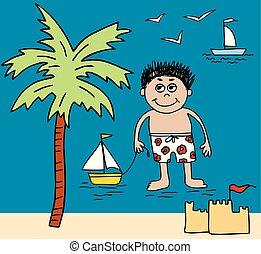 Vector image of a little boy on beach rest
