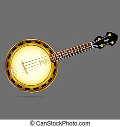 Vector image of a musical instrument banjo.