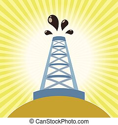 Oil derrick banner - Vector image of a Oil derrick banner