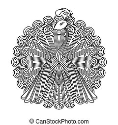 Vector image of a peacock. Coloring. Mandala.