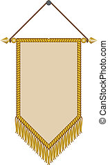 vector image of a pennant with gold fringe