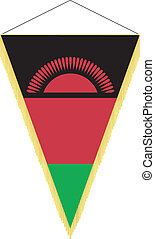 Vector image of a pennant with the national flag of Malawi