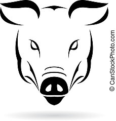 Vector image of a pig on a white background