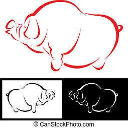 Vector image of a pig - Vector image of an pig on white...