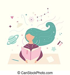 Vector image of a reading girl. Working student