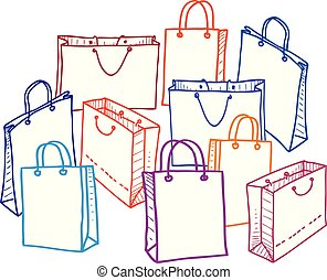 Vector image of a set of shopping bags. All objects isolated