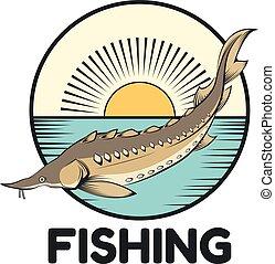 Sturgeon fishing banner - Vector image of a Sturgeon fishing...